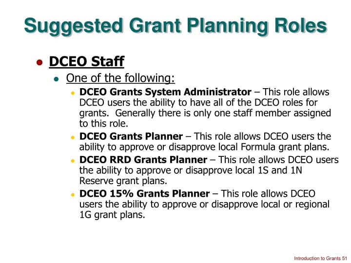 Suggested Grant Planning Roles