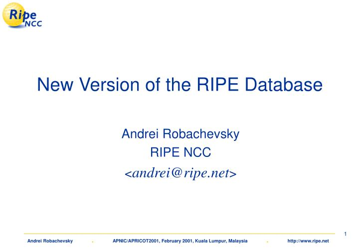 new version of the ripe database n.