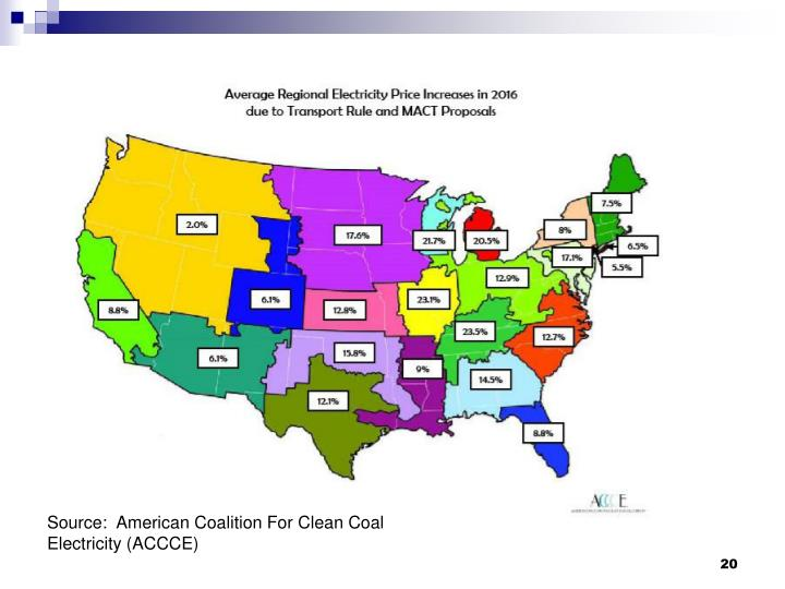 Source:  American Coalition For Clean Coal Electricity (ACCCE)