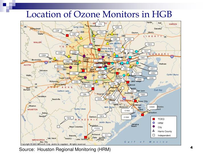 Location of Ozone Monitors in HGB