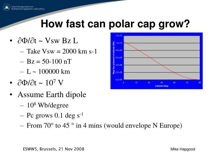 How fast can polar cap grow?