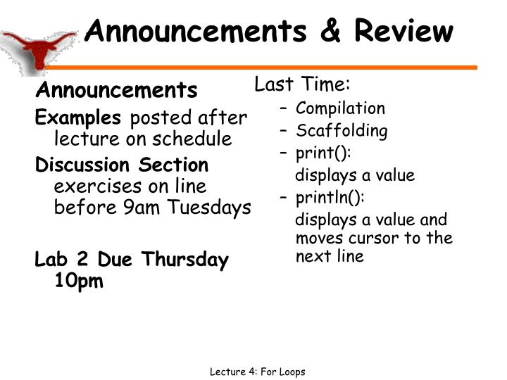 announcements review n.