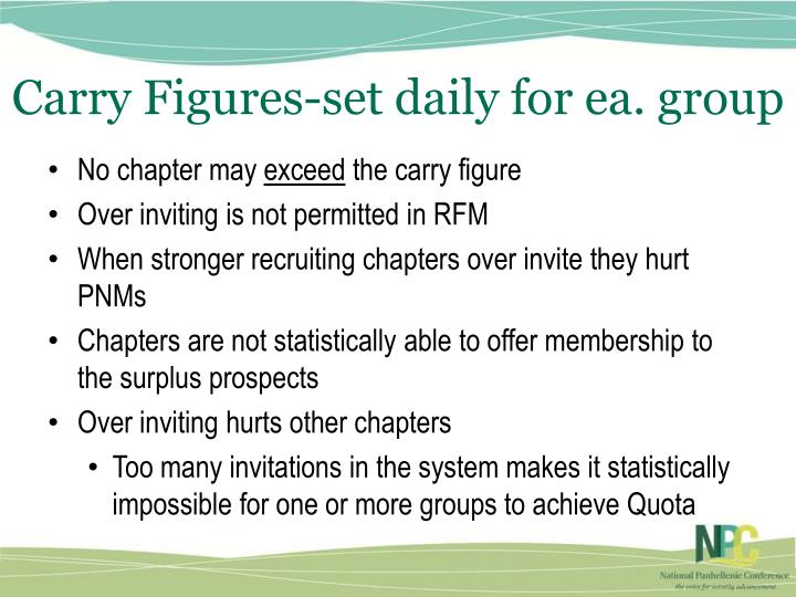 Carry Figures-set daily for ea. group