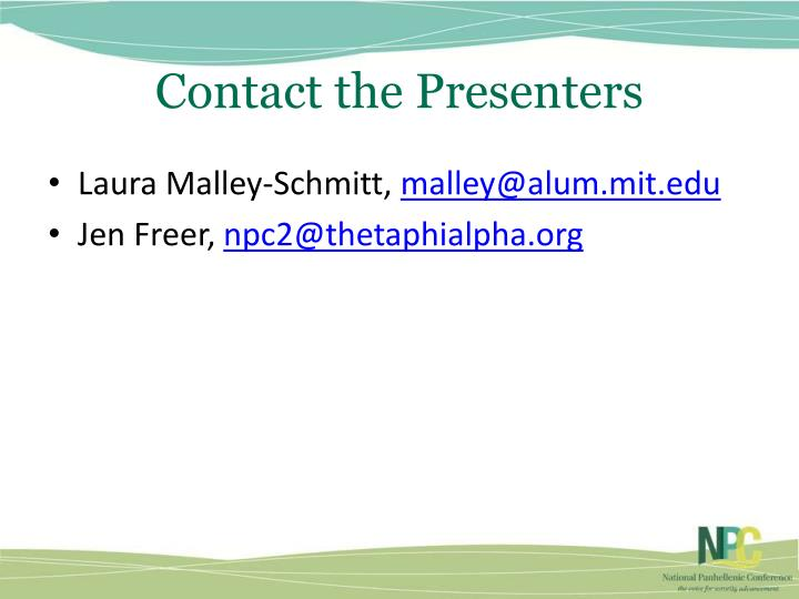 Contact the Presenters