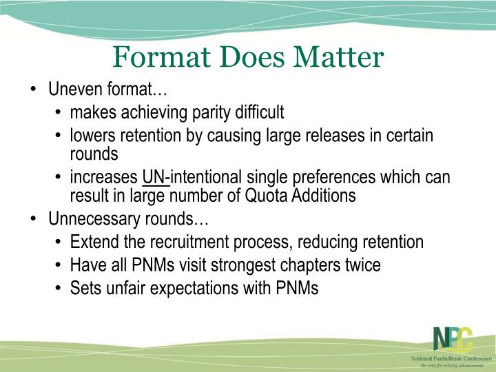Format Does Matter