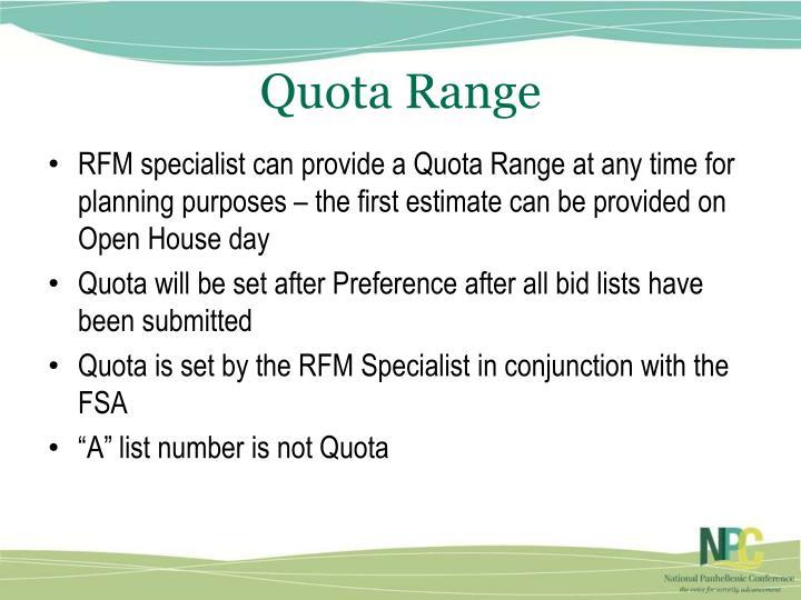Quota Range