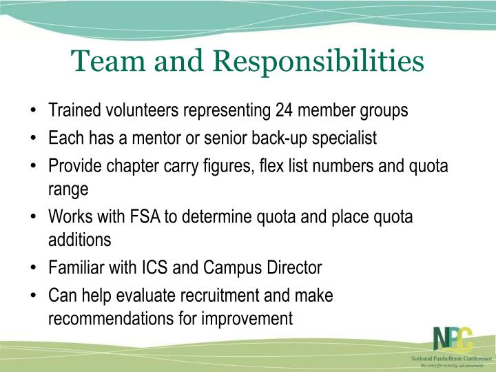Team and Responsibilities