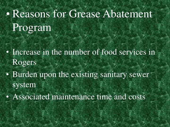Reasons for Grease Abatement Program