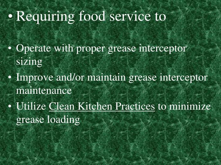 Requiring food service to