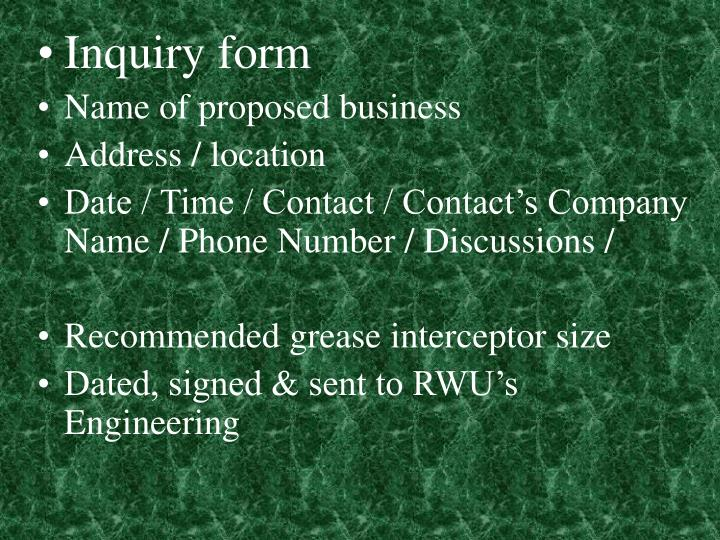 Inquiry form