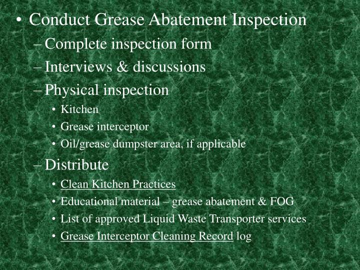 Conduct Grease Abatement Inspection