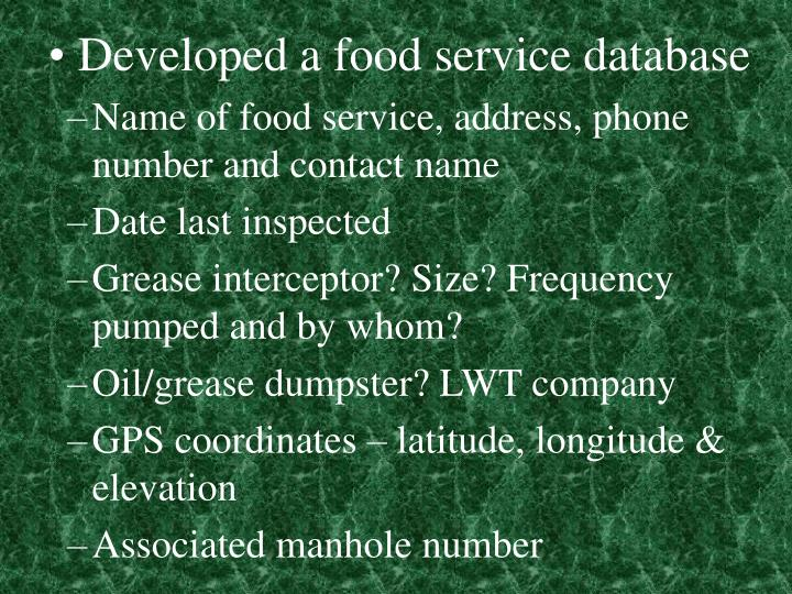 Developed a food service database