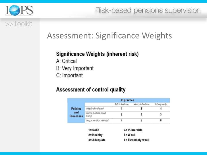 Assessment: Significance Weights