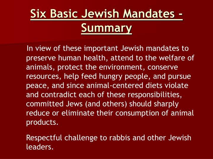 Six Basic Jewish Mandates - Summary