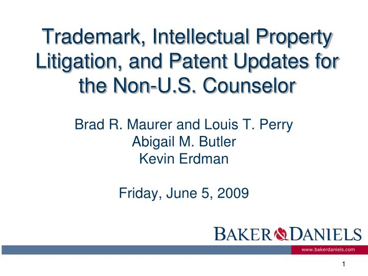 trademark intellectual property litigation and patent updates for the non u s counselor n.