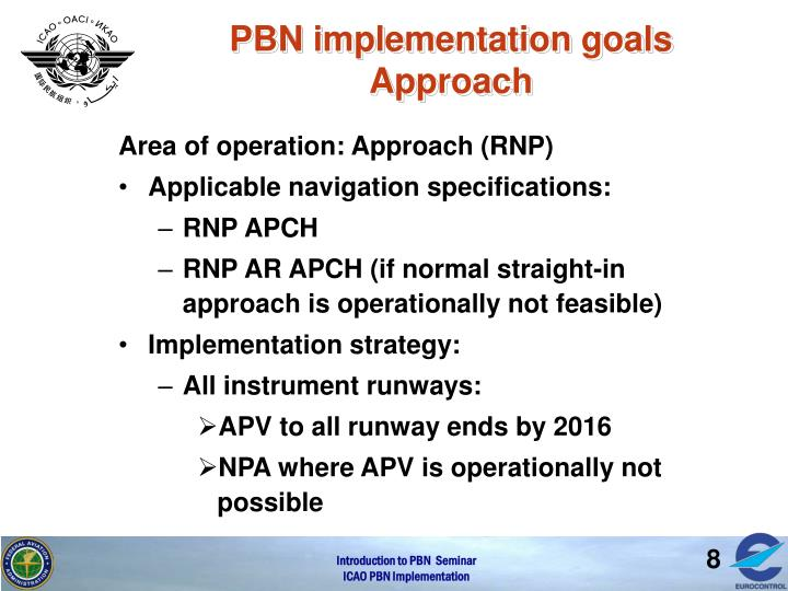 PBN implementation goals Approach