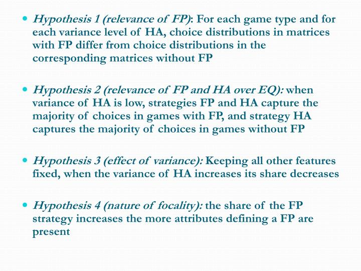 Hypothesis 1 (relevance of FP)