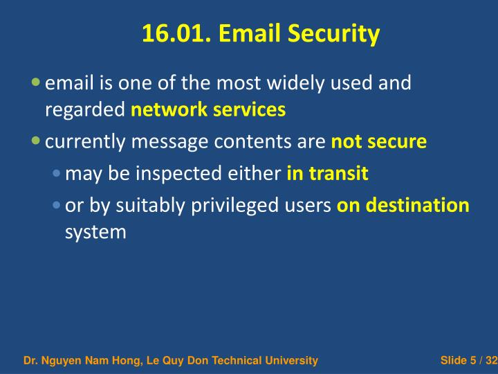 16.01. Email Security