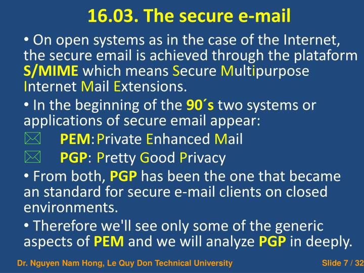 16.03. The secure e-mail