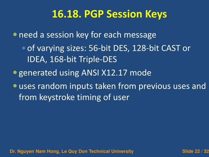 16.18. PGP Session Keys