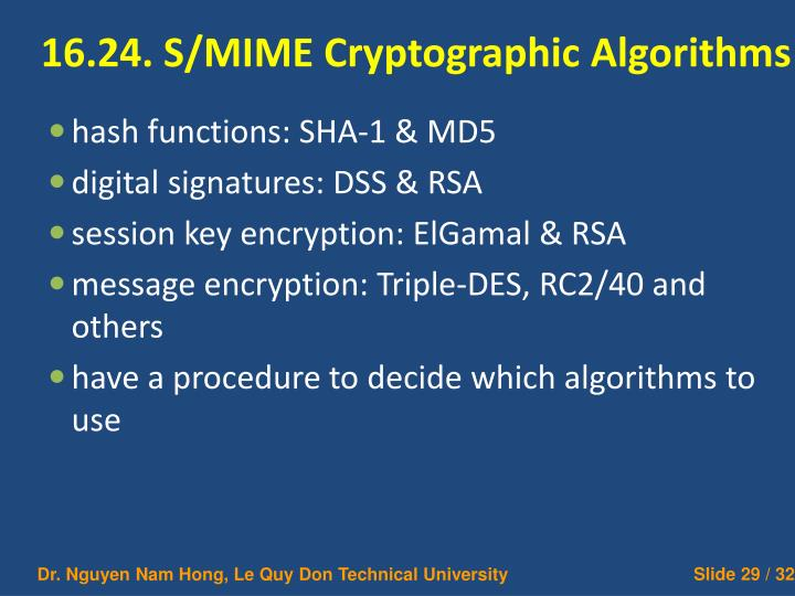 16.24. S/MIME Cryptographic Algorithms