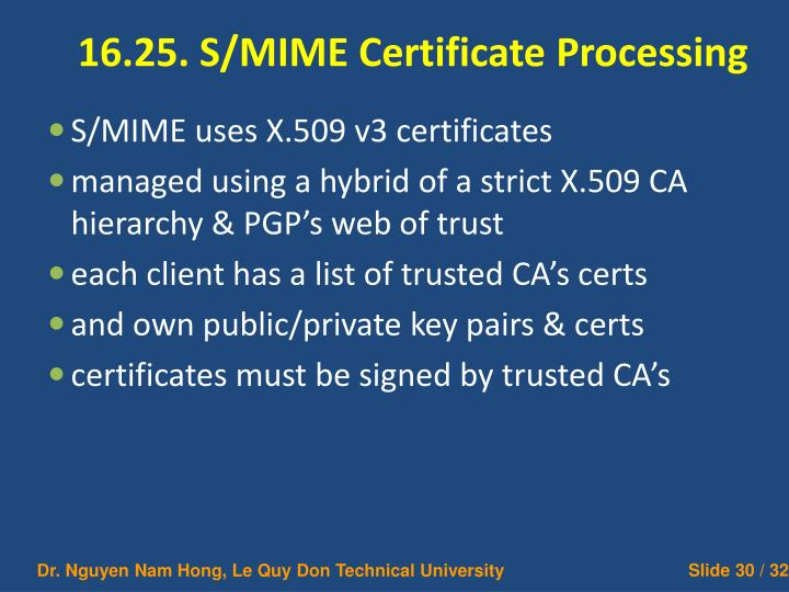 16.25. S/MIME Certificate Processing