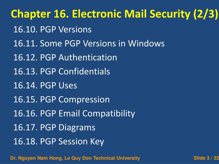 Chapter 16 electronic mail security 2 3