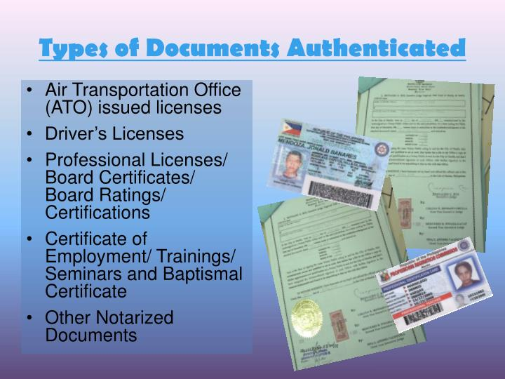Types of Documents Authenticated