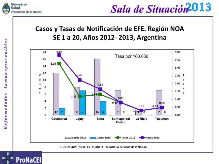 casos y tasas de notificaci n de efe regi n noa se 1 a 20 a os 2012 2013 argentina n.