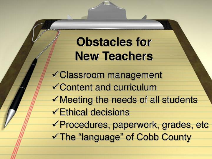 obstacles for new teachers