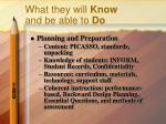 what they will know and be able to do1
