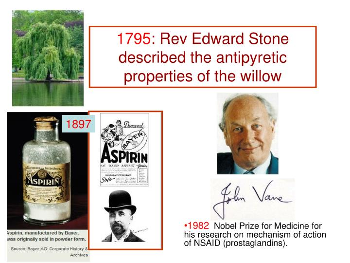 1795 rev edward stone described the antipyretic properties of the willow
