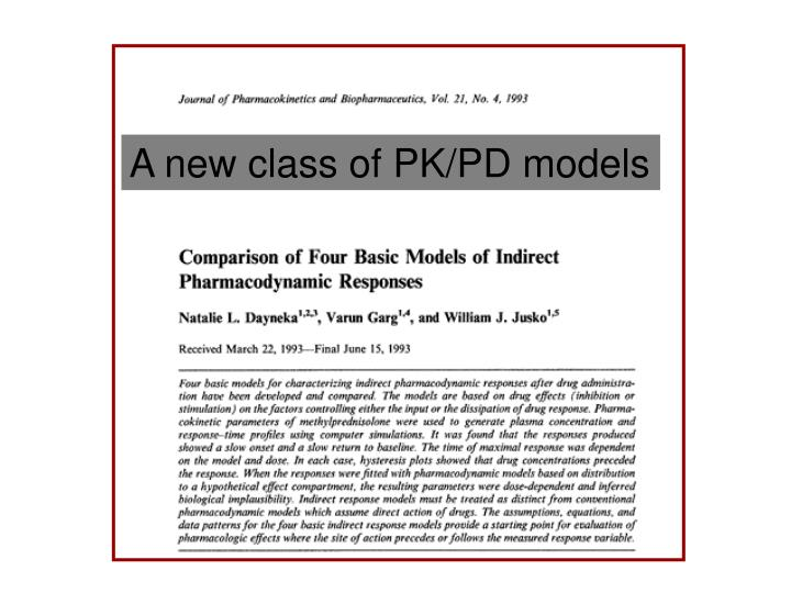 A new class of PK/PD models