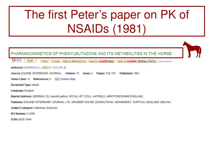 The first Peter's paper on PK of NSAIDs (1981)