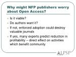 why might nfp publishers worry about open access