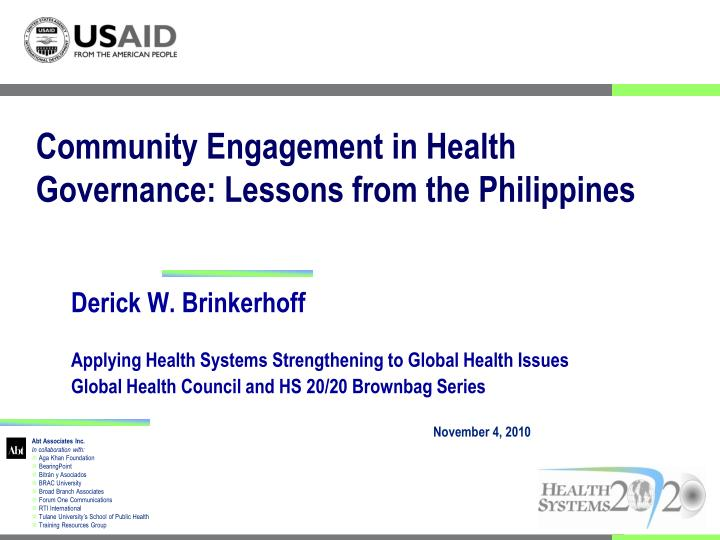 Community engagement in health governance lessons from the philippines