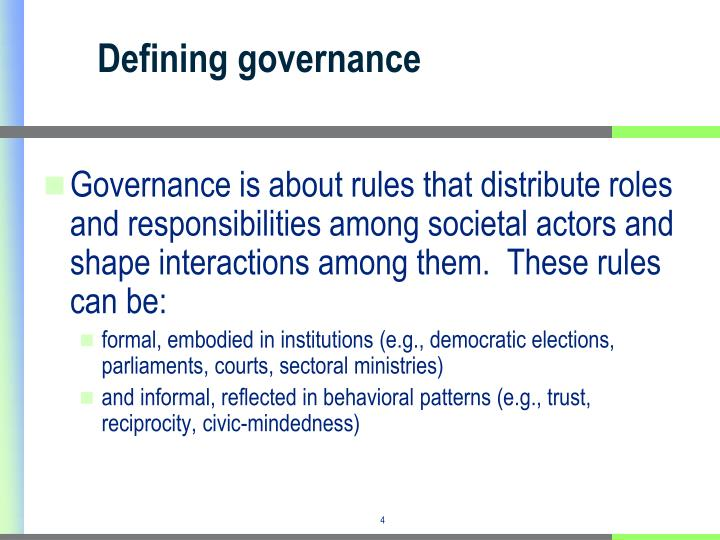 Defining governance