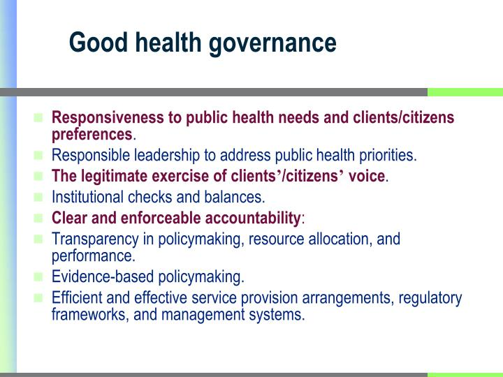 Good health governance
