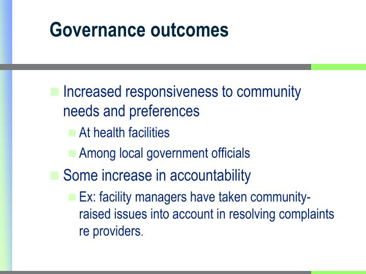 Governance outcomes