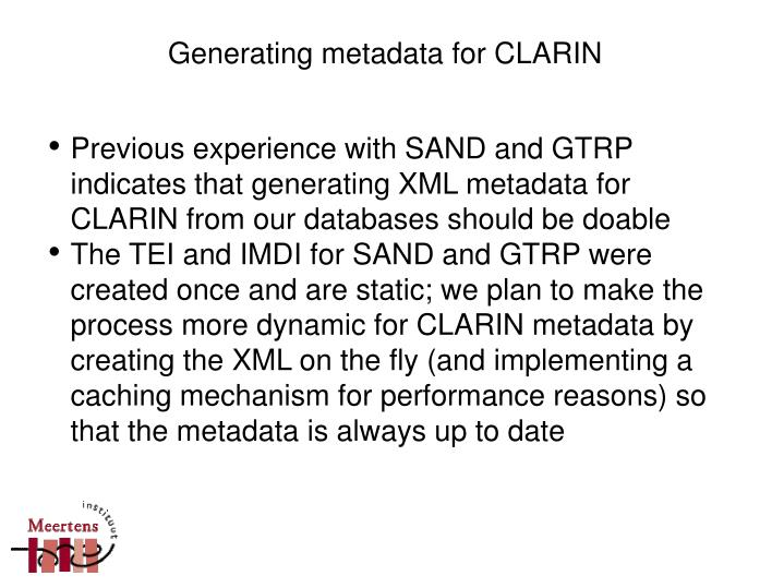 Generating metadata for CLARIN