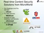 real time content security solutions from microworld