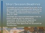 short session deadlines
