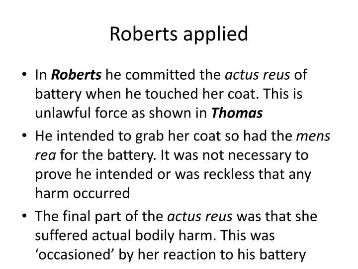 Roberts applied