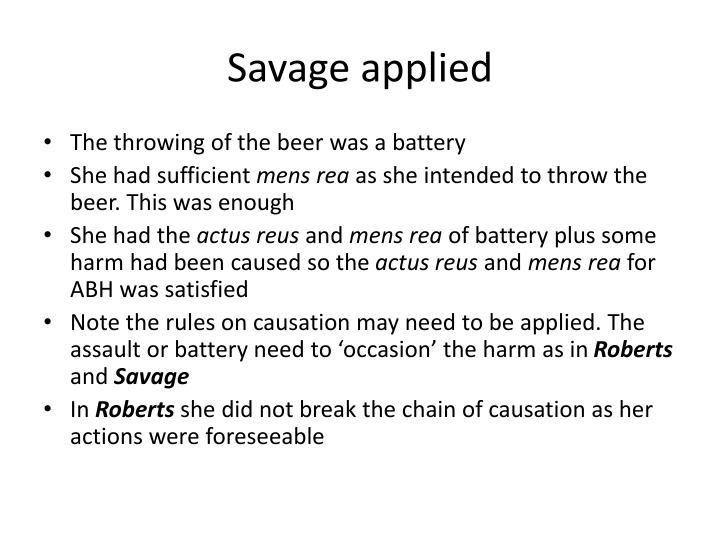 Savage applied