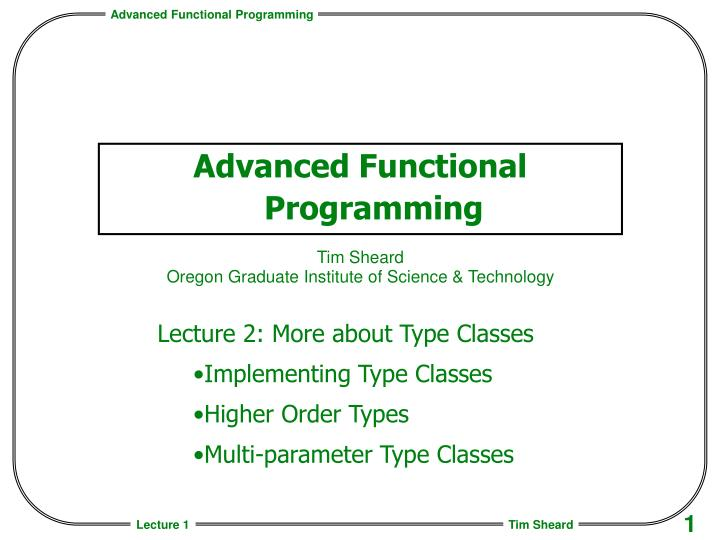 advanced functional programming n.