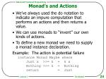 monad s and actions