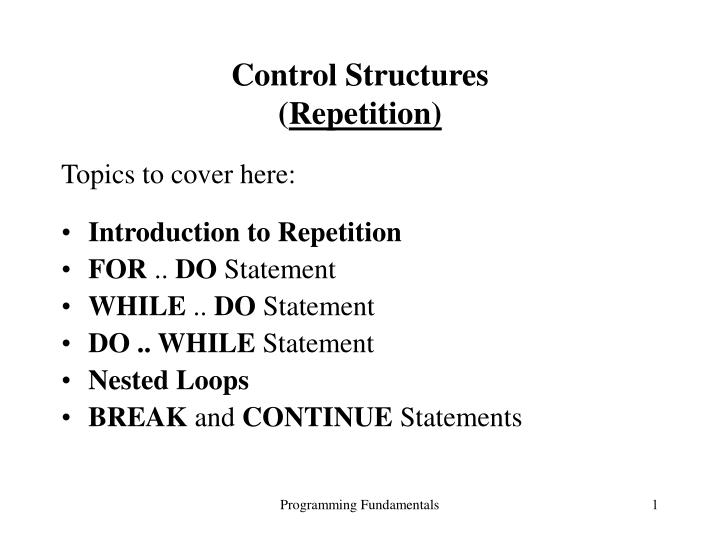 control structures repetition n.