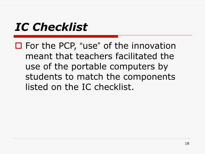 IC Checklist