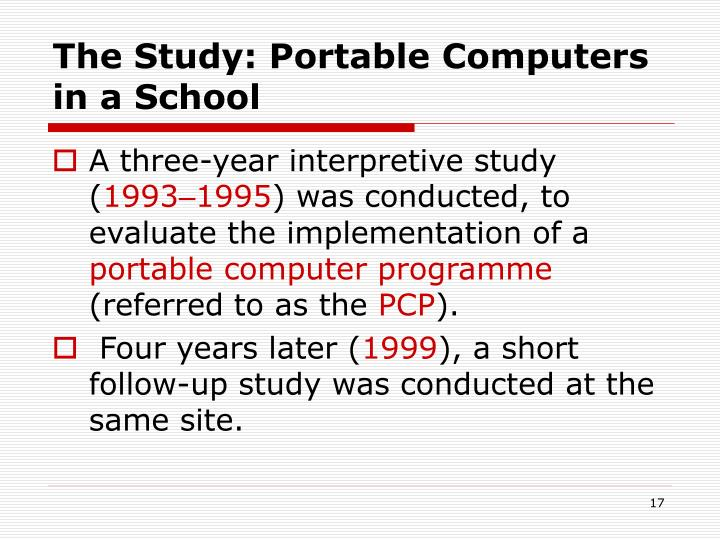 The Study: Portable Computers in a School