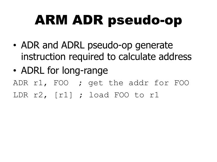 ARM ADR pseudo-op